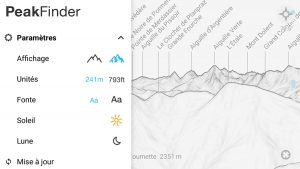 Application PeakFinder nom des montagnes - Capture d'écran smartphone Paramètres (screenshot)