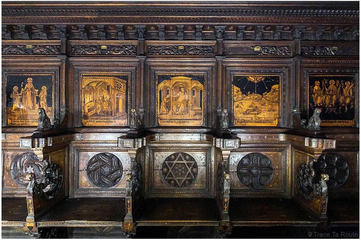 Chœur en bois sculpté de la Chapelle du Museo Civico de Sienne - Cappella di Palazzo Pubblico di Siena