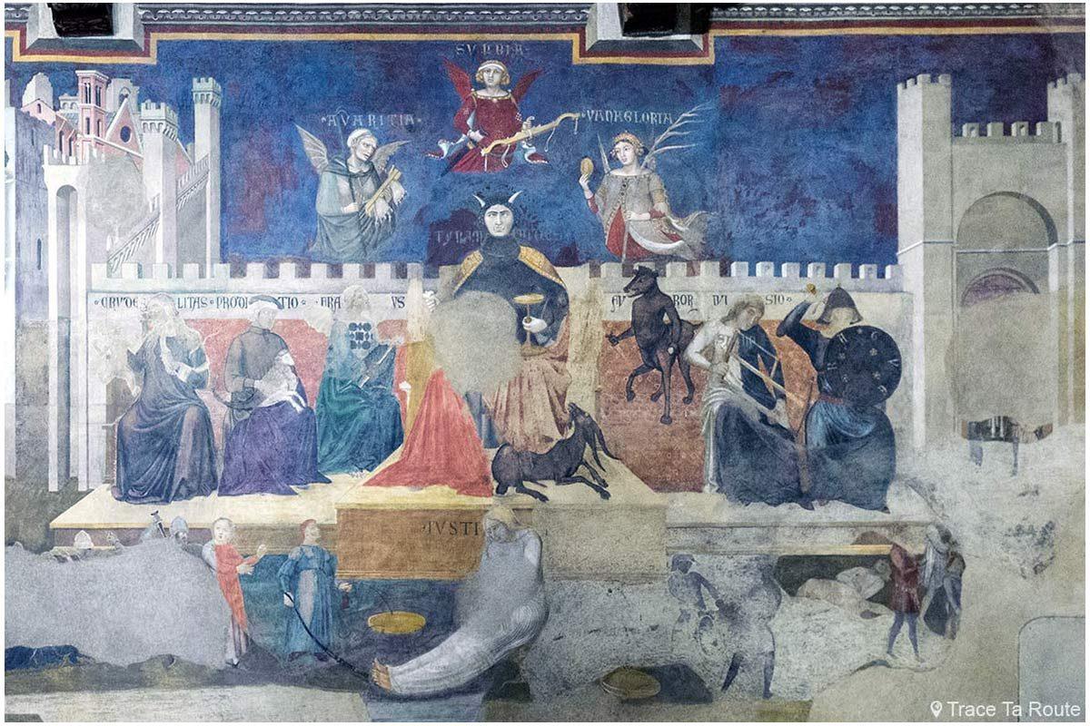 """Fresque """"Allégorie et effets du Bon et du Mauvais Gouvernement"""" (1338-1339) Ambrogio Lorenzetti - Salle des Neuf du Museo Civico de Sienne - Allegoria ed Effetti del Buono e del Cattivo Governo (Sala dei Nove / Salle della Pace di Palazzo Pubblico di Siena)"""