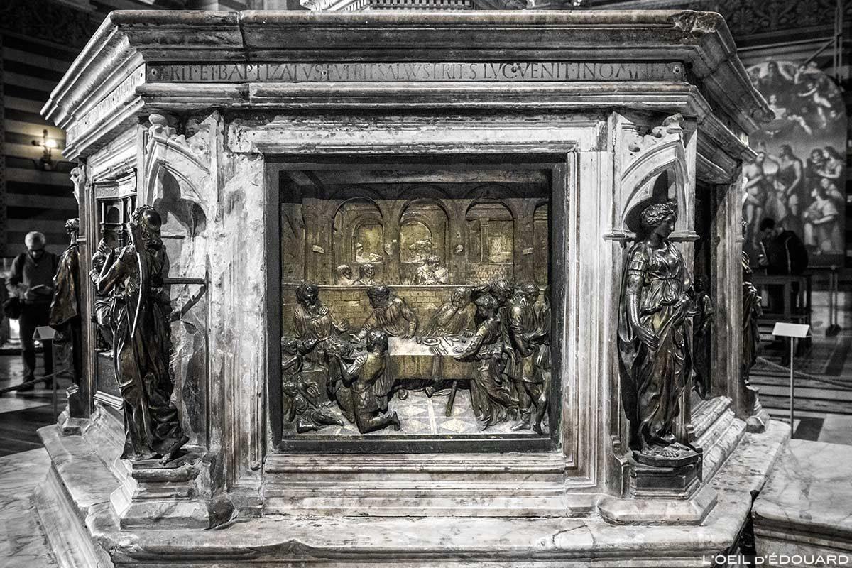 Le Banquet d'Hérode (1427) Donatello - Font Baptismaux du Baptistère San Giovanni, Cathédrale de Sienne / La testa de Battista presentata a Erode (1427) Lorenzo Ghiberti - Fonte battesimale Battistero di San Giovanni, Duomo OPA Siena