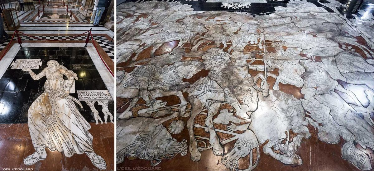 Sol pavé marbre à l'intérieur de la Cathédrale de Sienne - Pavement Duomo di Siena (Santa Maria Assunta) : Sibylle cimmérienne (ionique), Giovanni di Stefano / La Fuite d'Hérode, Benvenuto di Giovanni