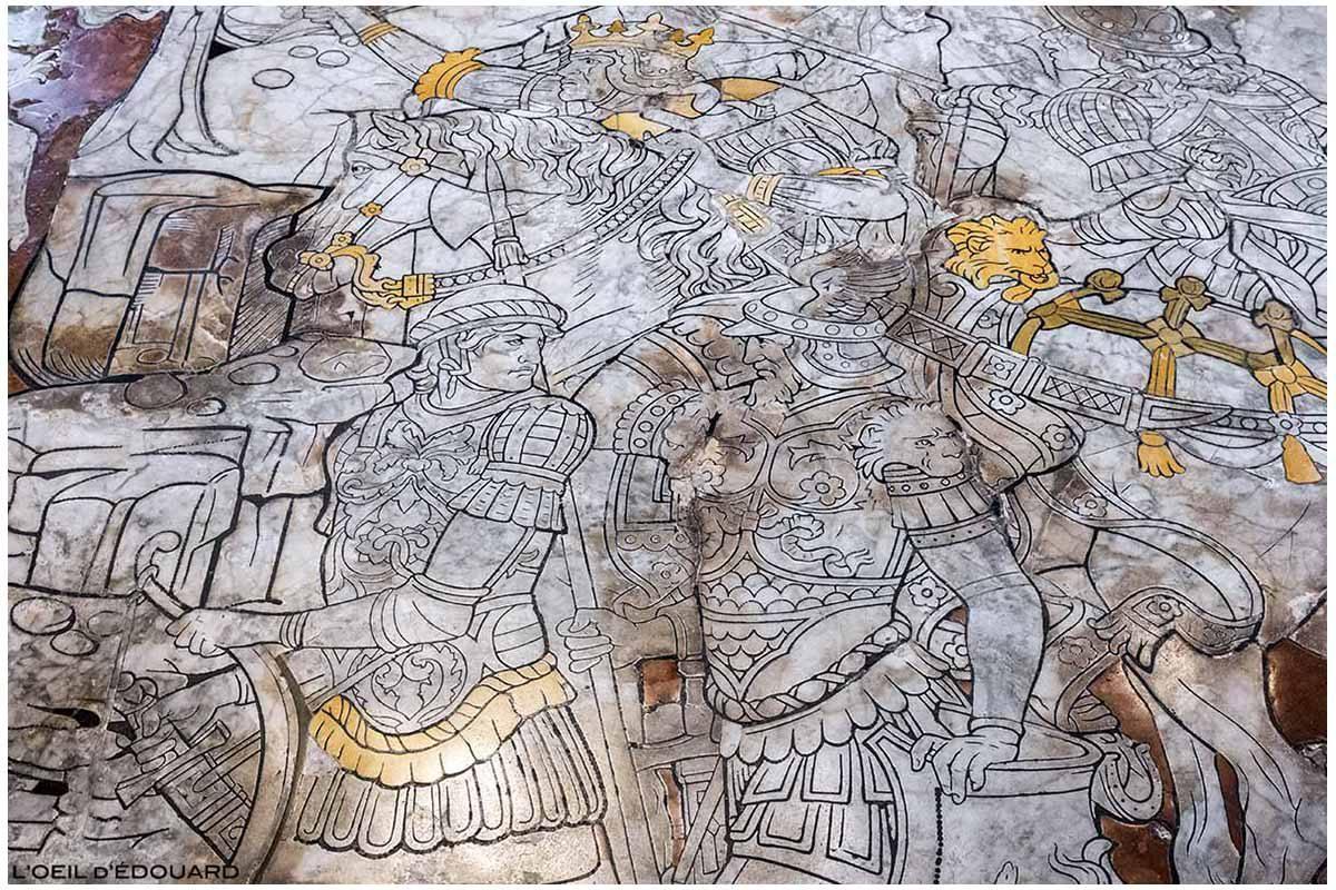 Sol pavé marbre à l'intérieur de la Cathédrale de Sienne - Pavement Duomo di Siena (Santa Maria Assunta) : La Fuite d'Hérode, Benvenuto di Giovanni