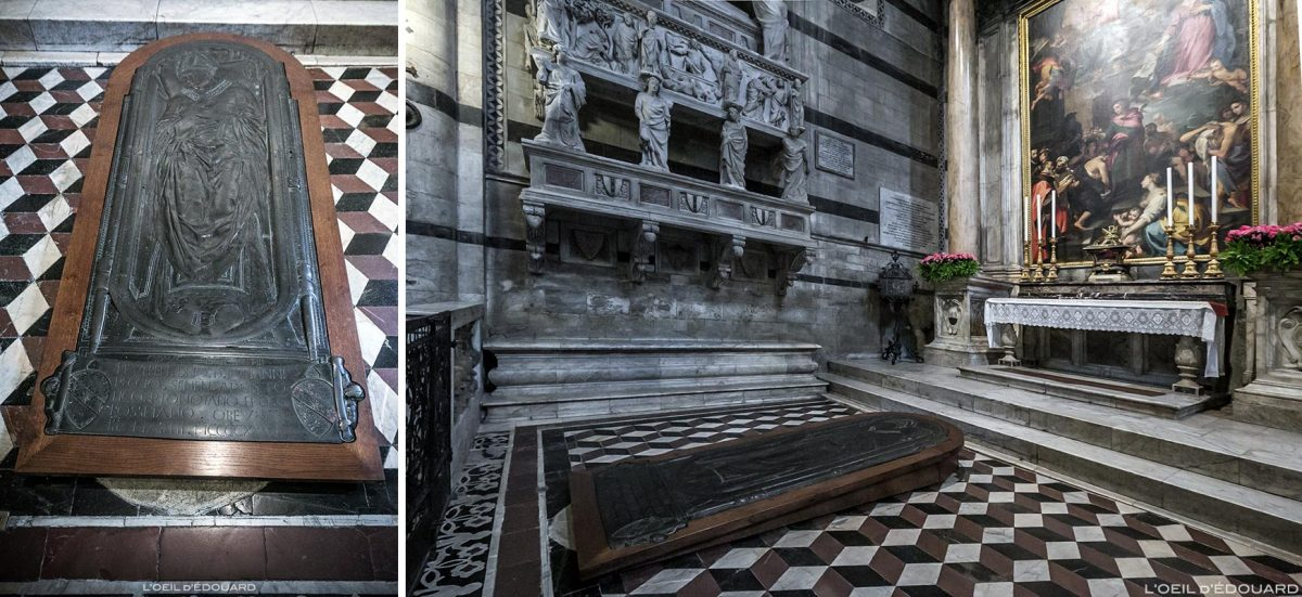 Cathédrale de Sienne - Intérieur Duomo di Siena (Santa Maria Assunta) : pierre tombale de l'évêque Giovanni Pecci (vers 1426) de Donatello + Sant'Ansano (1593-96) Francesco Vanni + Monument funéraire au Cardinal Petroni, Tino di Camaino