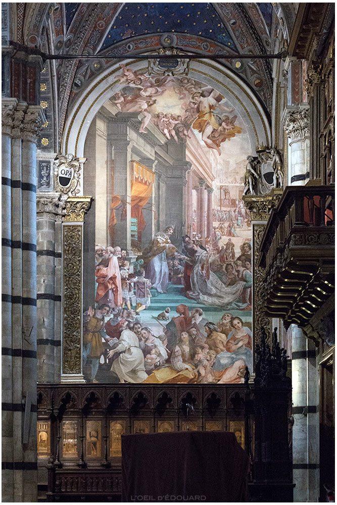 Le Mariage d'Esther et Assuérus (1608-1611) Ventura Salimbeni - Fresque Cathédrale de Sienne Duomo di Siena (Santa Maria Assunta)