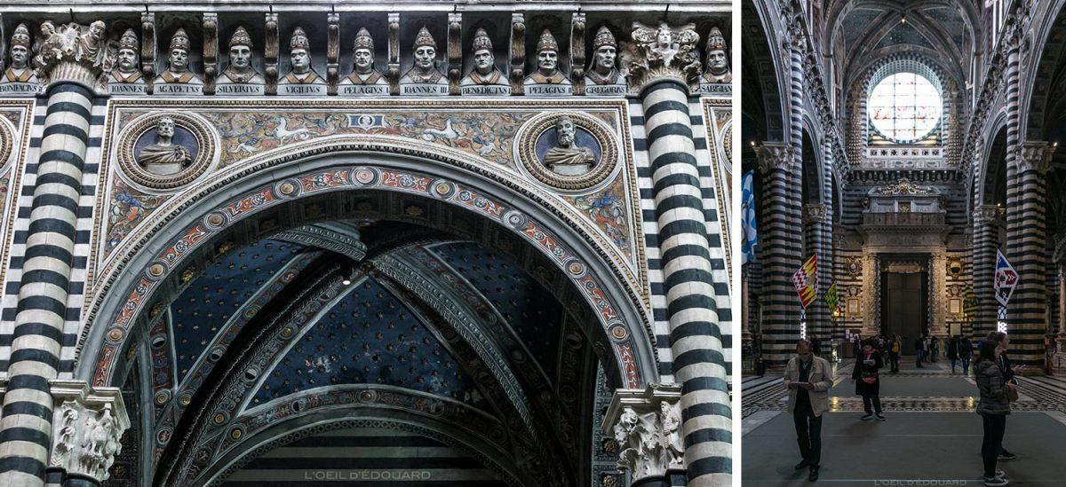 Cathédrale de Sienne - Intérieur Nef Duomo di Siena (Santa Maria Assunta) : Sculptures bustes Têtes de Pape