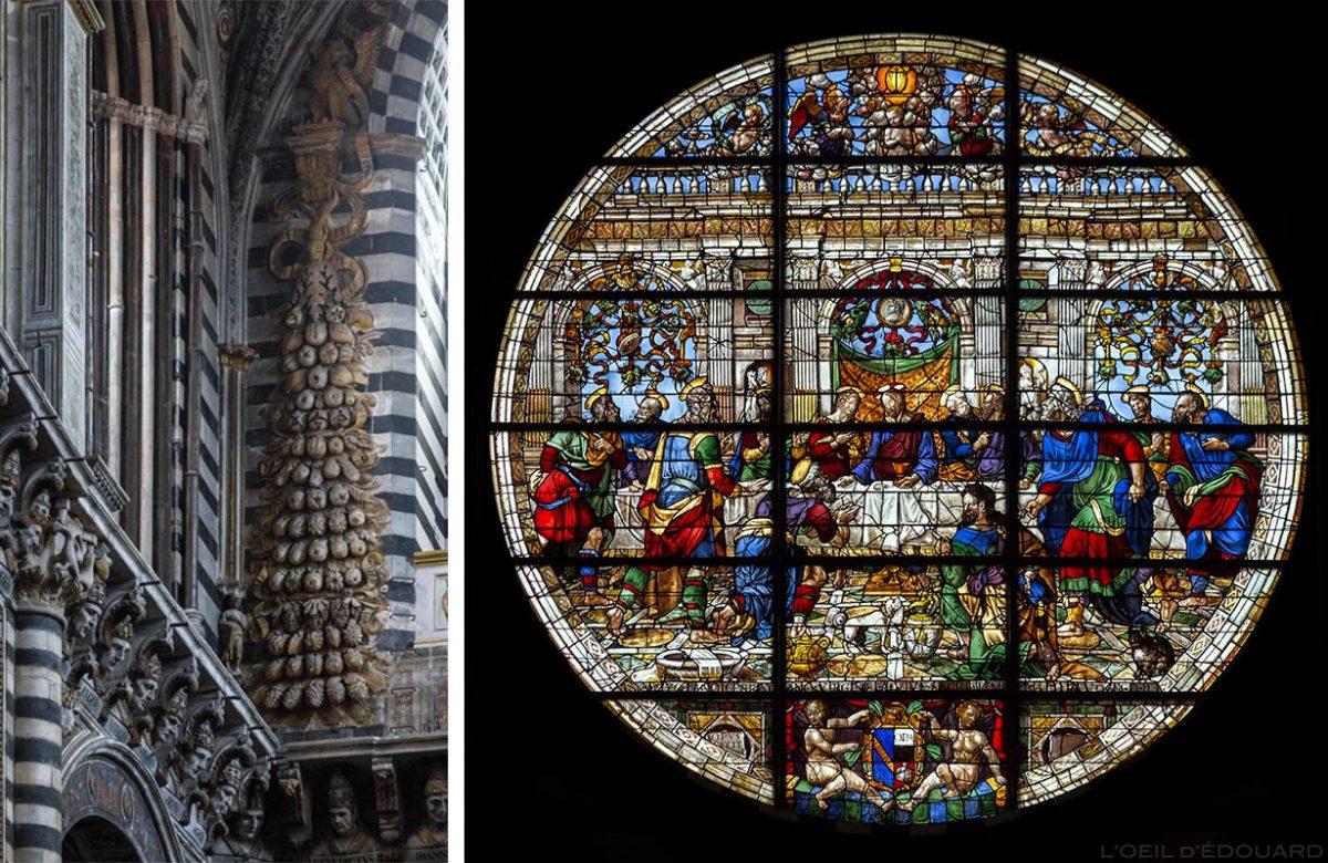 Cathédrale de Sienne - Intérieur Nef Duomo di Siena (Santa Maria Assunta) : Sculptures fruits + Vitrail Rosace La Cène, Perin del Vaga - Vitrail de l'abside de la Cathédrale de Sienne - Vetrata del Duomo di Siena
