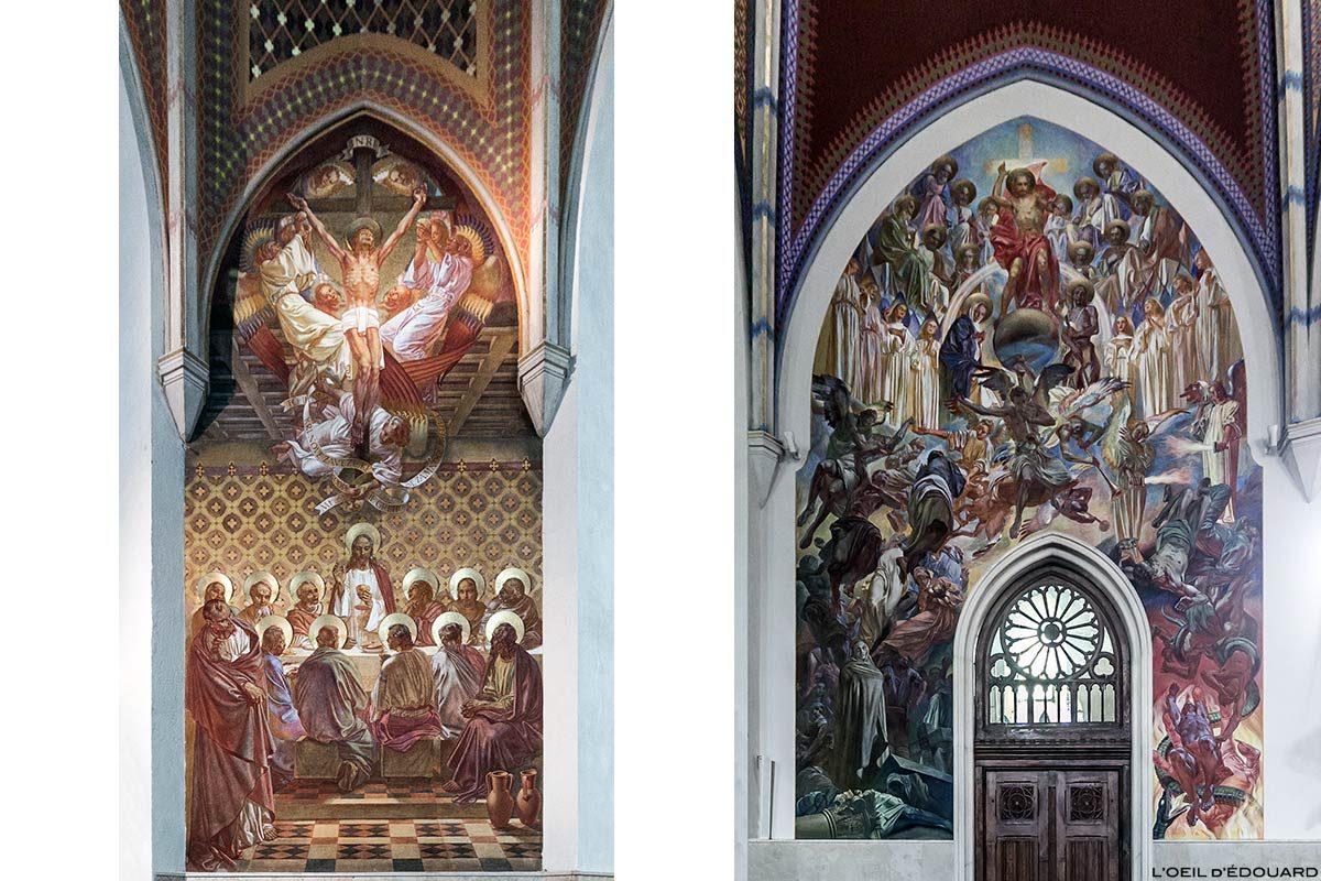 Fresques à l'intérieur de l'Église paroissiale Saint-Martin Župnijska cerkev sv. Martina de Bled, Slovénie (Slovenia / Slovenija)