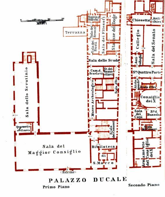 Plan des salles à l'intérieur du Palais des Doges de Venise