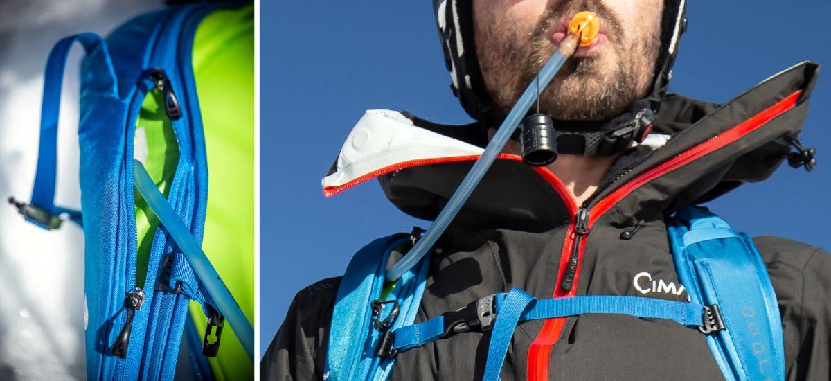 Test Sac à dos ski de randonnée Osprey Kamber 32 litres : manchon isolé pur tuyau camelbak