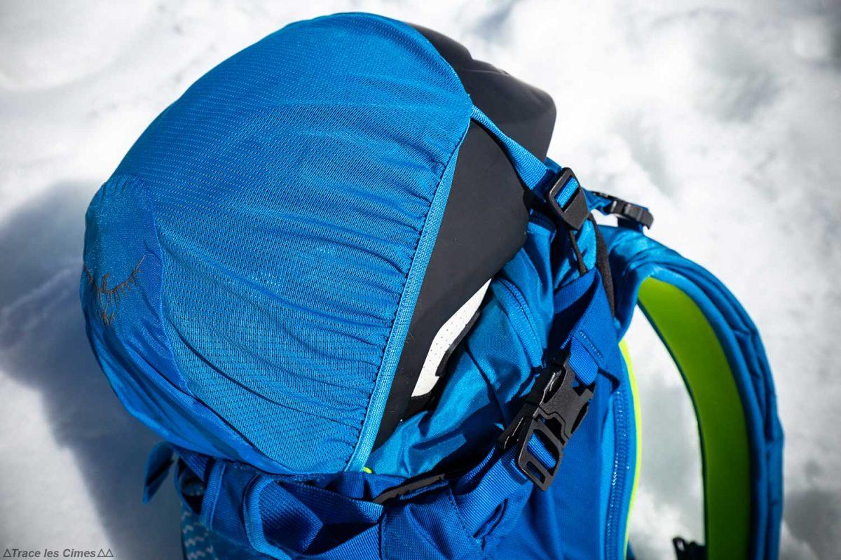 Test Sac à dos ski de randonnée Osprey Kamber 32 litres : filet porte-casque