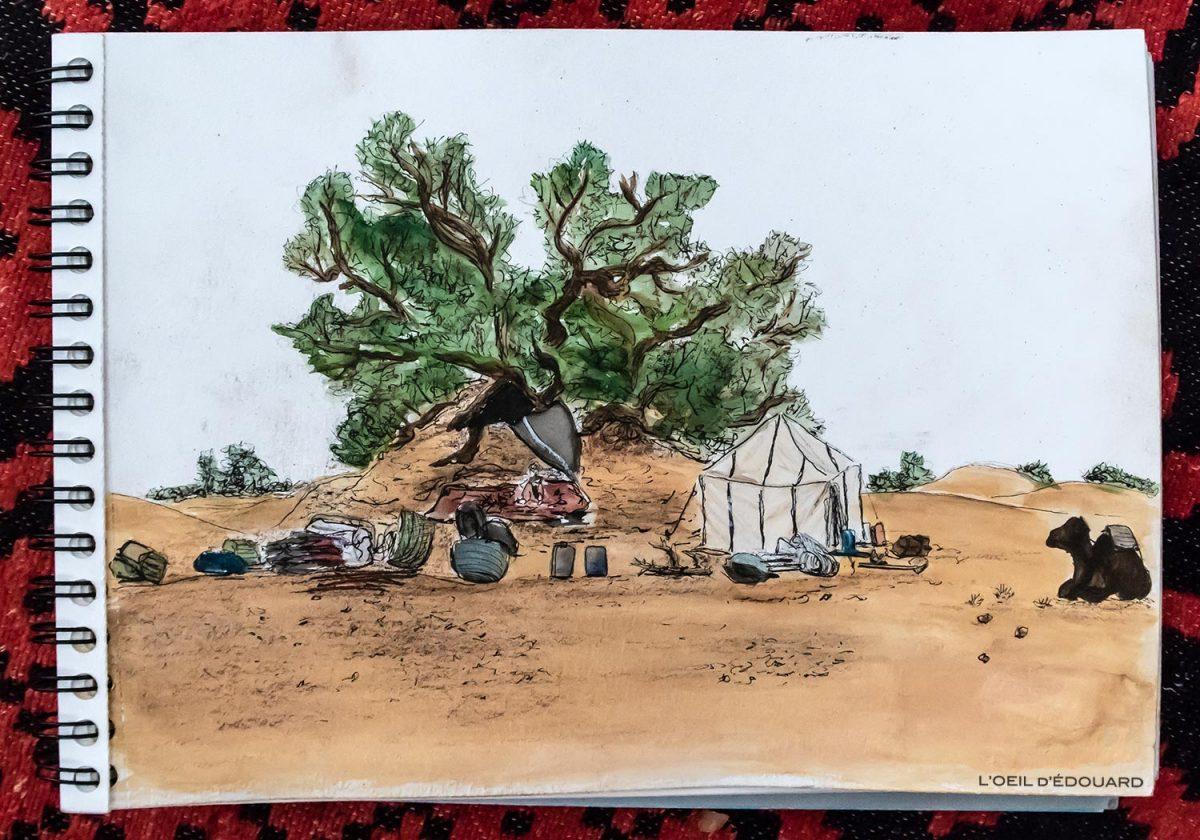Dessin du bivouac dans le Désert du Maroc - Trek Mélodie du Désert © L'Oeil d'Édouard