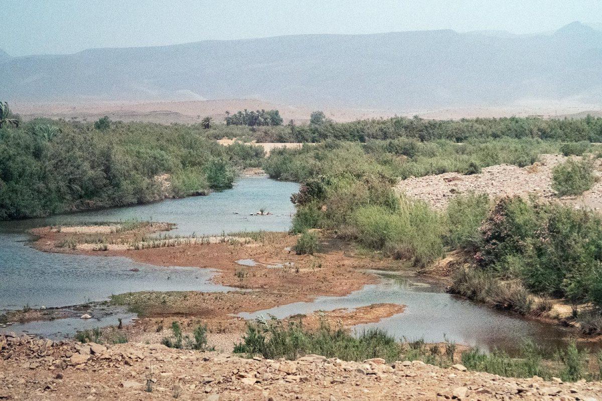 Oued sur le bord de la route N9 dans la Vallée du Draâ, Maroc