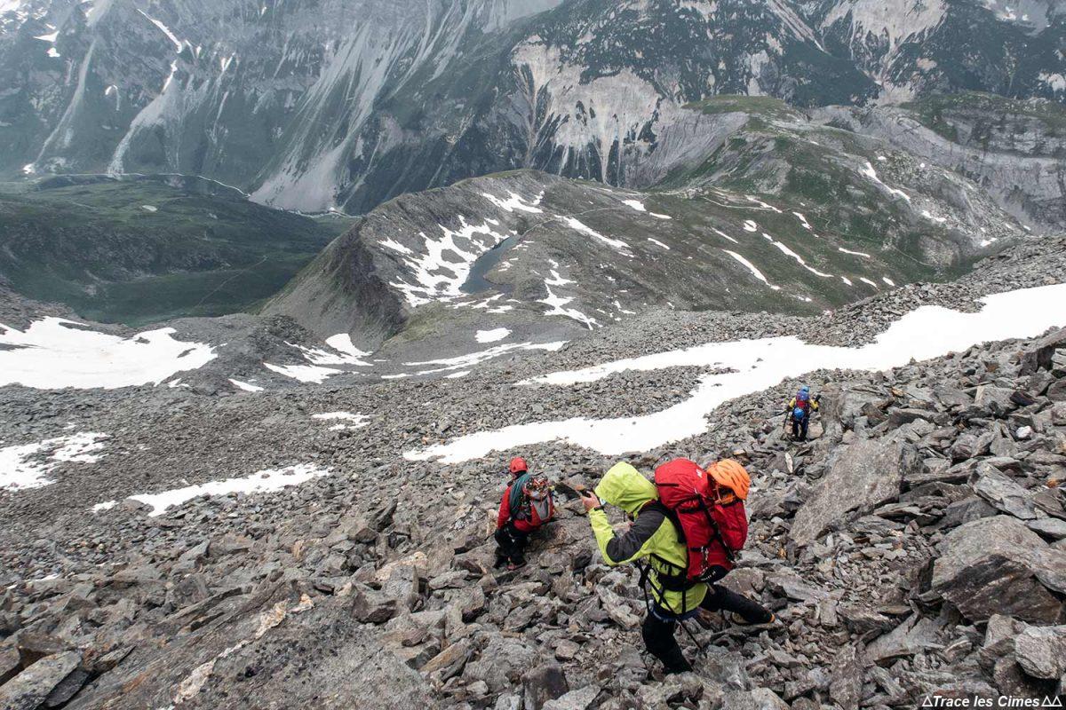 Pierrier dans la descente au Col de la Valette depuis le Dôme des Sonnailles, Massif de la Vanoise