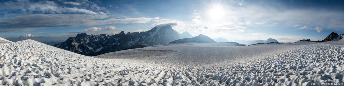 Alpinisme : le Glacier de la Roche Ferran avec la Pointe de la Réchasse et le Grande Casse, Massif de la Vanoise