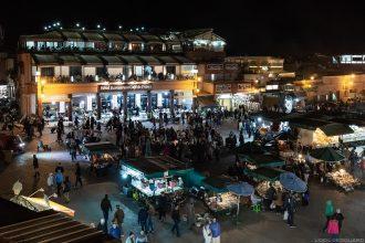 La Place Jemaâ El-Fna de Marrakech avec l'Hôtel restaurant Café de France, la nuit, Maroc © L'Oeil d'Édouard - Tous droits réservés
