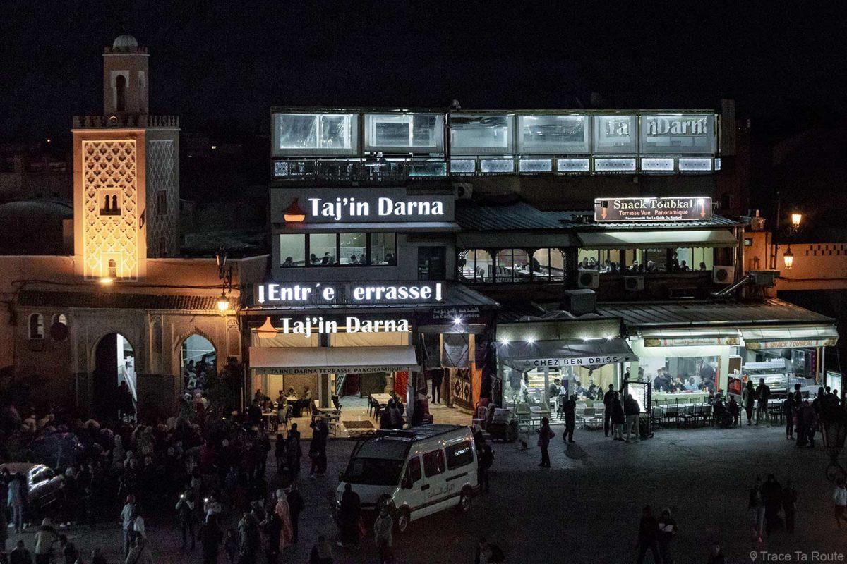 Restaurants Taj'in, Chez Ben Driss et Toubkal sur la Place Jemaâ El-Fna de Marrakech, Maroc