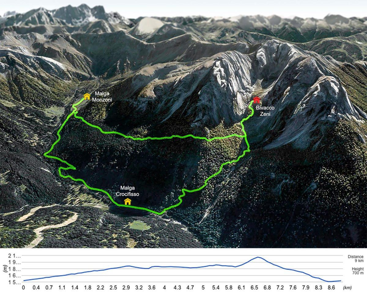 Itinéraire de randonnée au Bivacco Zeni depuis la Malga Crocifisso - Dolomites, Italie
