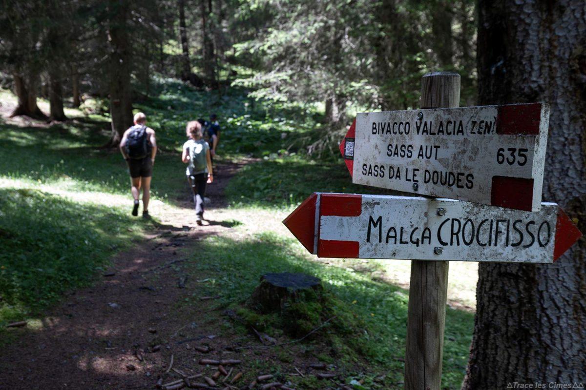Sentier de randonnée à Val Monzoni dans les Dolomites, Italie / Dolomiti Italia