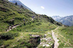 Itinéraire sentier de randonnée vers le Col de la Perrière, sous les Grands Moulins, Belledonne