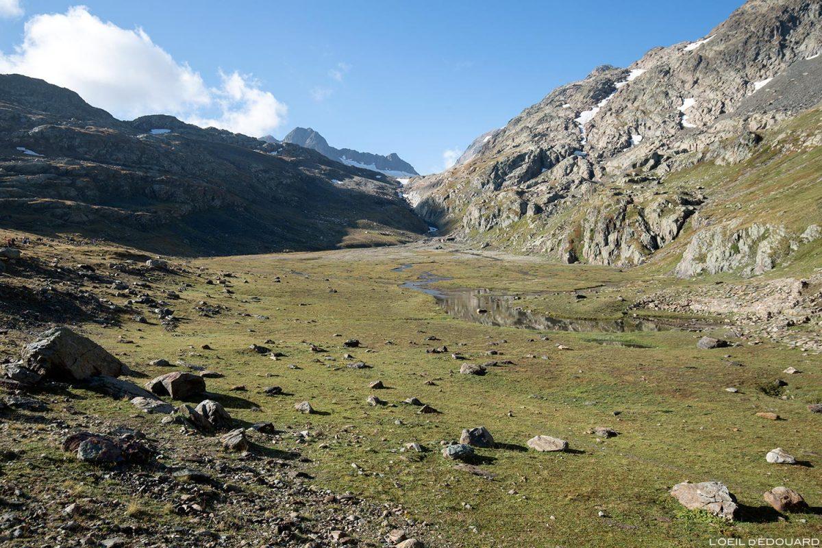 Lac asséché La Perte Tournant - randonnée vers le Glacier de Saint-Sorlin