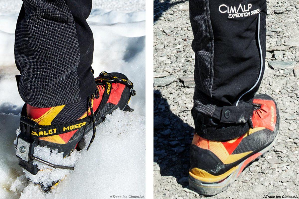 Test Pantalon Alpinisme CimAlp Transalpin : guêtre sur la chaussure d'alpinisme La Sportiva Trango Tower Gtx