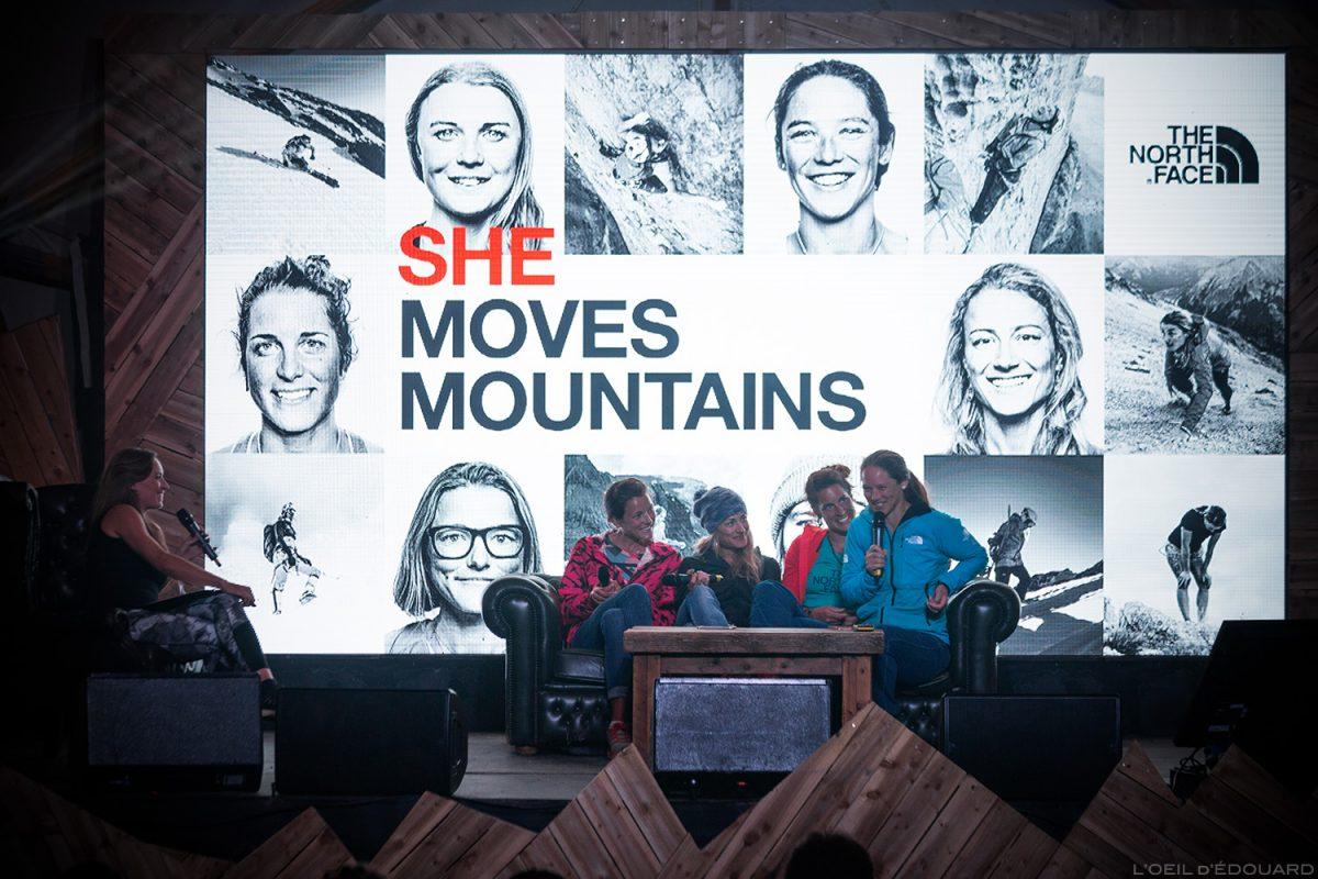 Conférence She Moves Mountains au The North Face Mountain Festival 2018 à Val San Nicolo dans les Dolomites, Italie / Dolomiti Italia Italy