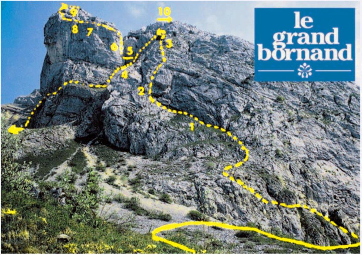 Tracé itinéraire de la Via ferrata de la Tour du Jallouvre, Le Grand Bornand