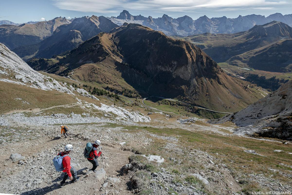 Fin de la Via ferrata de la Tour du Jallouvre : sentier de retour vers le Col de la Colombière