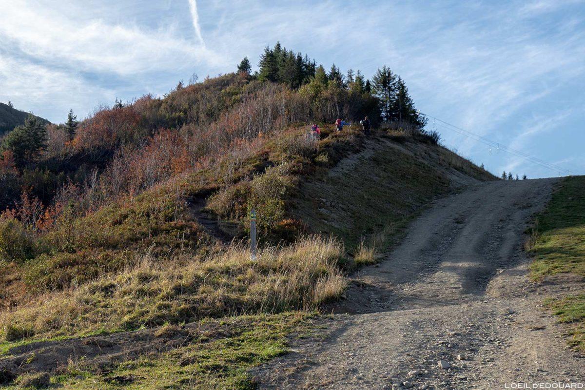 Sentier de randonnée au Col des Annes dans les Aravis / Haute-Savoie, Alpes