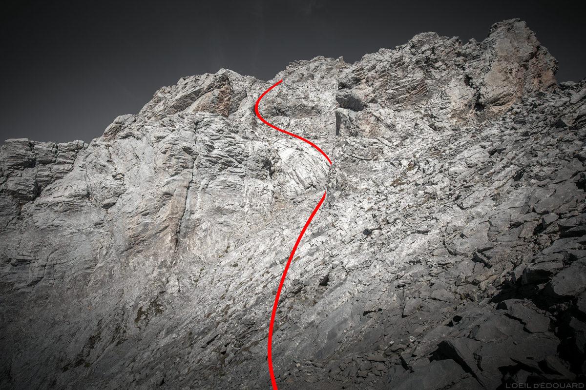 Itinéraire ascension de La Pointe Percée par les Cheminées de Sallanches, Aravis / Haute-Savoie