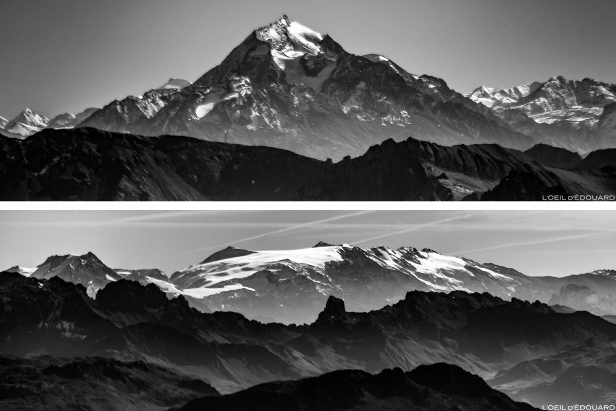 Le Massif de la Vanoise depuis le sommet de La Pointe Percée, Alpes Haute-Savoie
