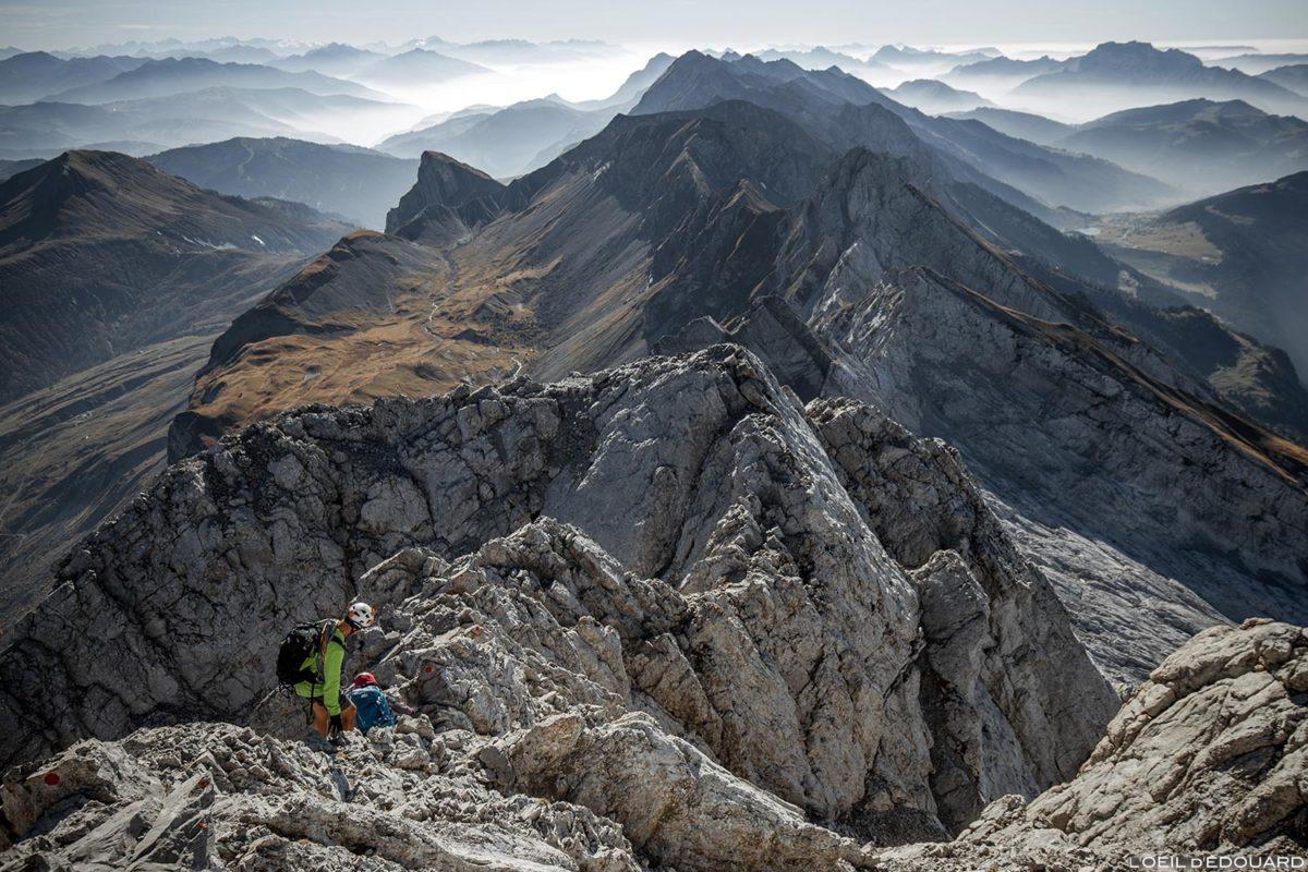Descente retour de la Pointe Percée par la voie normale, Aravis / Haute-Savoie