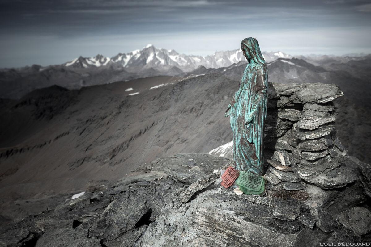 La statue de la Vierge sommet de l'Aiguille de la Grande Sassière (3747 m) - Alpes Grées, Montagne Savoie © L'Oeil d'Édouard - Tous droits réservés