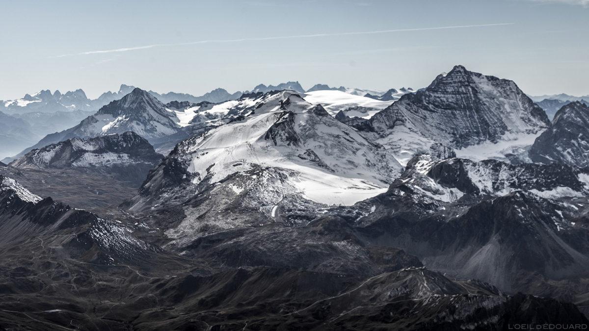 Le Glacier de la Grande Motte et la Grande Casse, Massif de la Vanoise, depuis le sommet de l'Aiguille de la Grande Sassière - Montagnes Savoie © L'Oeil d'Édouard - Tous droits réservés