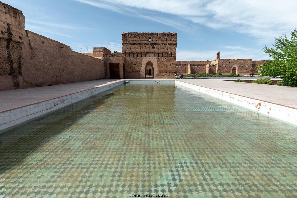 Bassin cour intérieure de Palais Badi à Marrakech, Maroc / Marrakesh Morocco