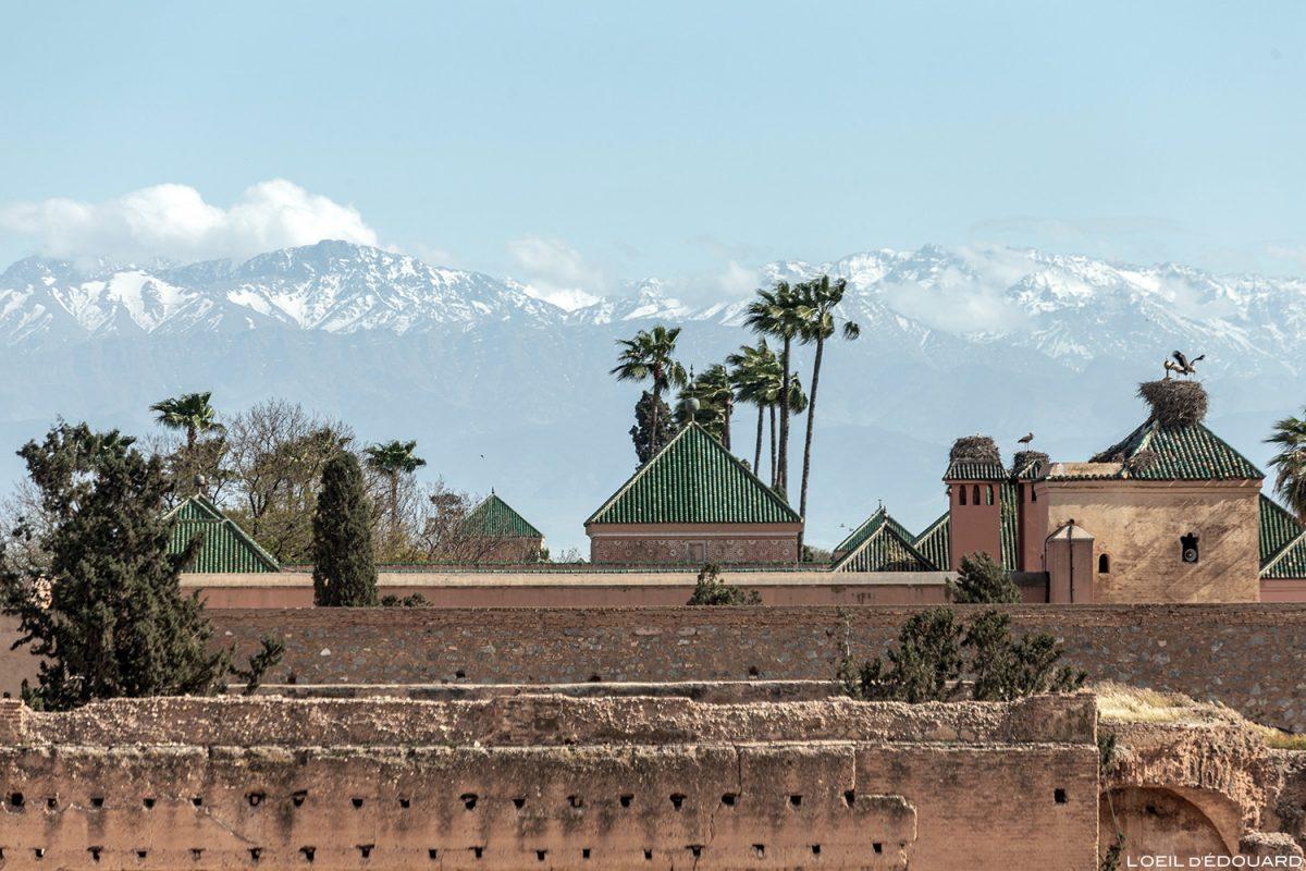 Montagnes de l'Atlas depuis le Palais el-Badi de Marrakech, Maroc / Marrakesh Morocco