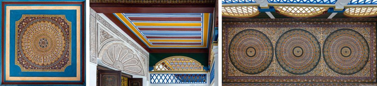 Ornementation motifs décoration arabe au plafond du Palais Bahia de Marrakech, Maroc / Visit Marrakesh Morocco