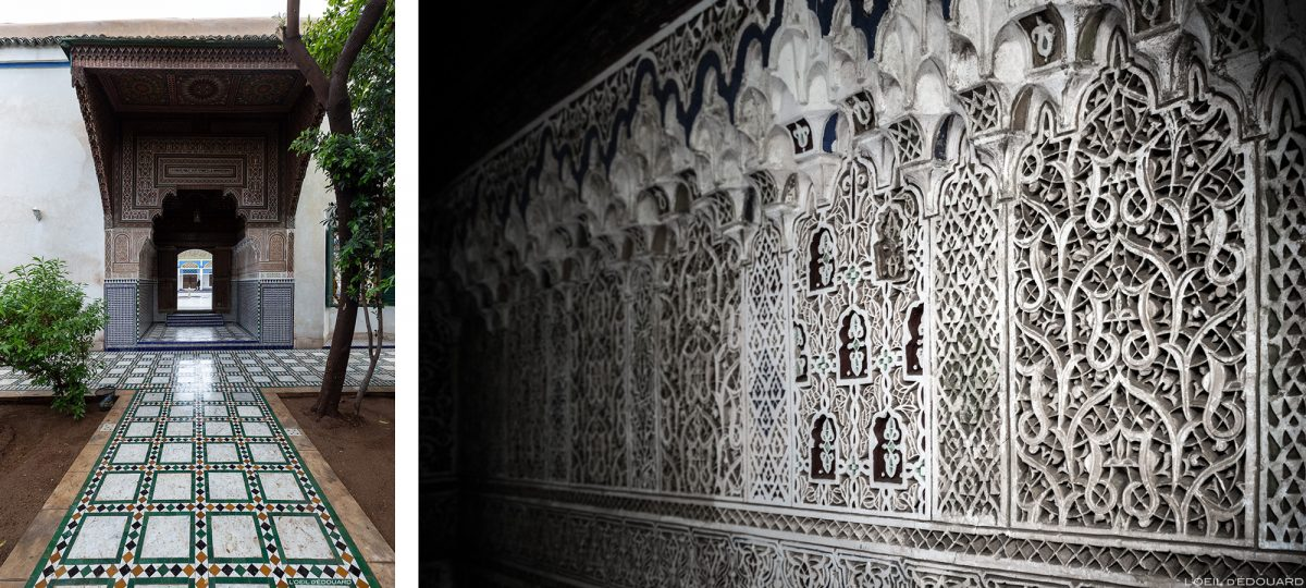 Porte et motifs bas-reliefs sculptés ornementation arabe du Palais Bahia de Marrakech, Maroc / Visit Marrakesh Morocco