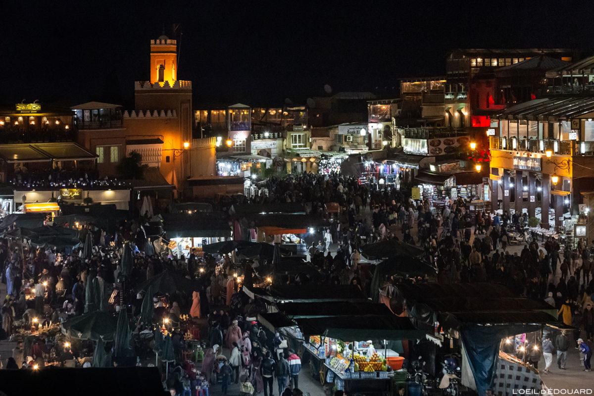 La Place Jemaâ el-Fna de Marrakech de nuit le soir, Maroc / Marrakesh Morocco © L'Oeil d'Édouard - Tous droits réservés