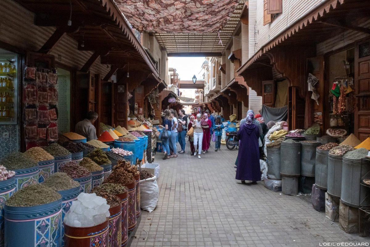 Marchand d'épices dans le Souk de Marrakech, Maroc / Marrakesh Morocco