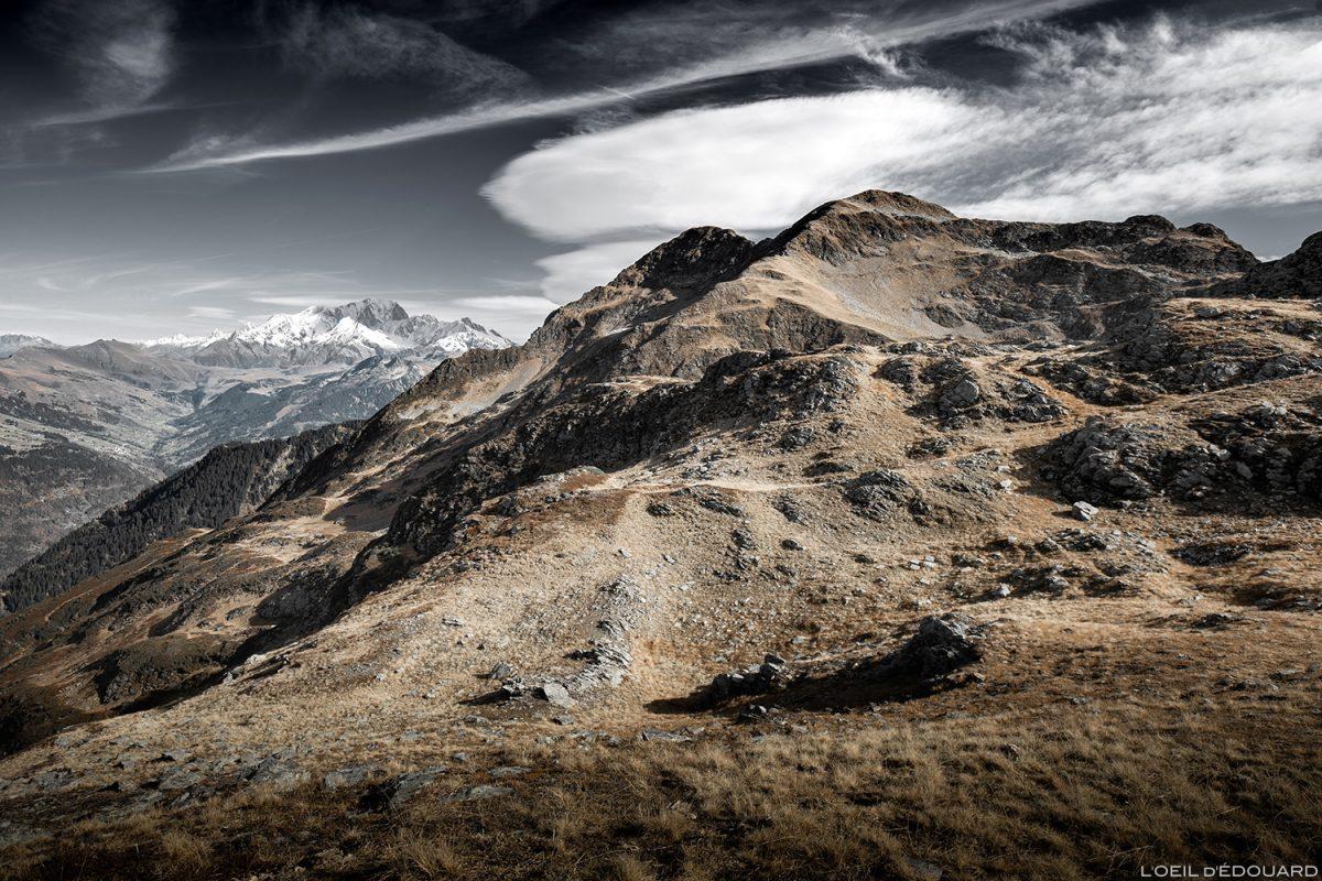 Le Mont Mirantin et le Pas de l'Âne, avec le Mont Blanc en arrière-plan © L'Oeil d'Édouard - Tous droits réservés