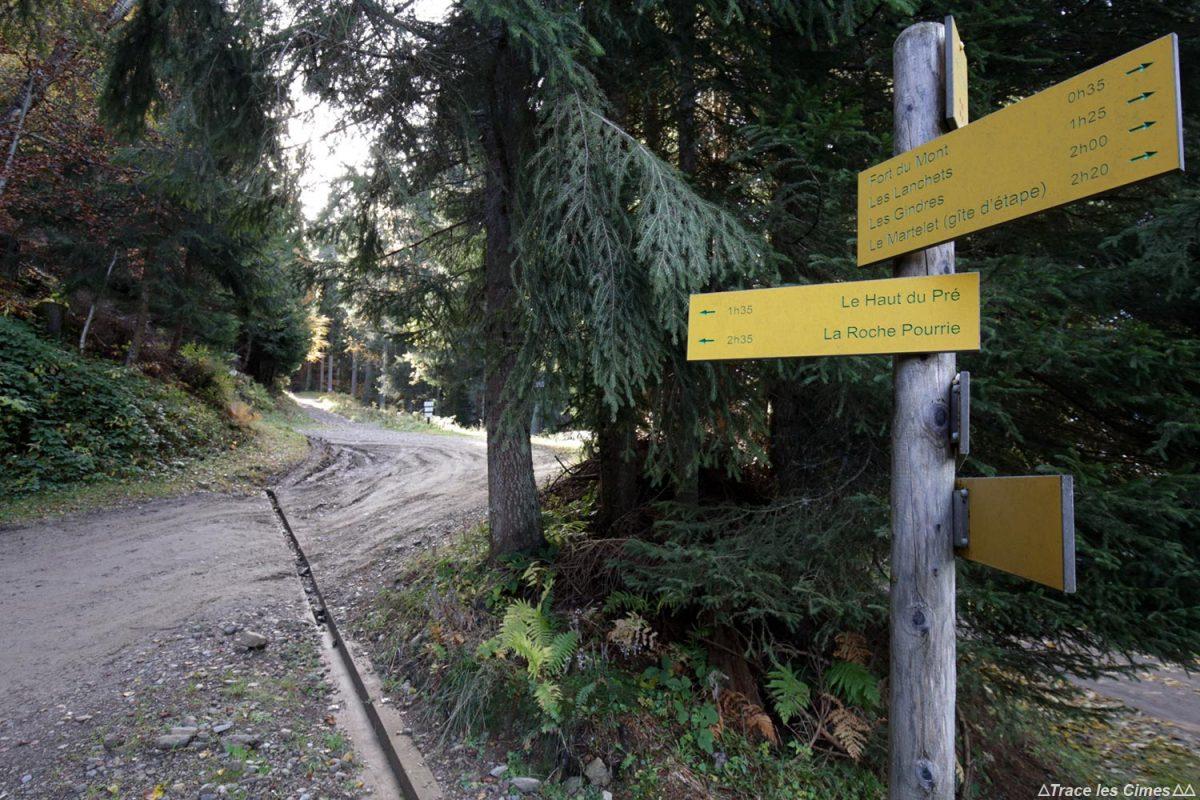 Départ de la randonnée à la Roche Pourrie et au Mont Mirantin, Massif du Beaufortain, Savoie