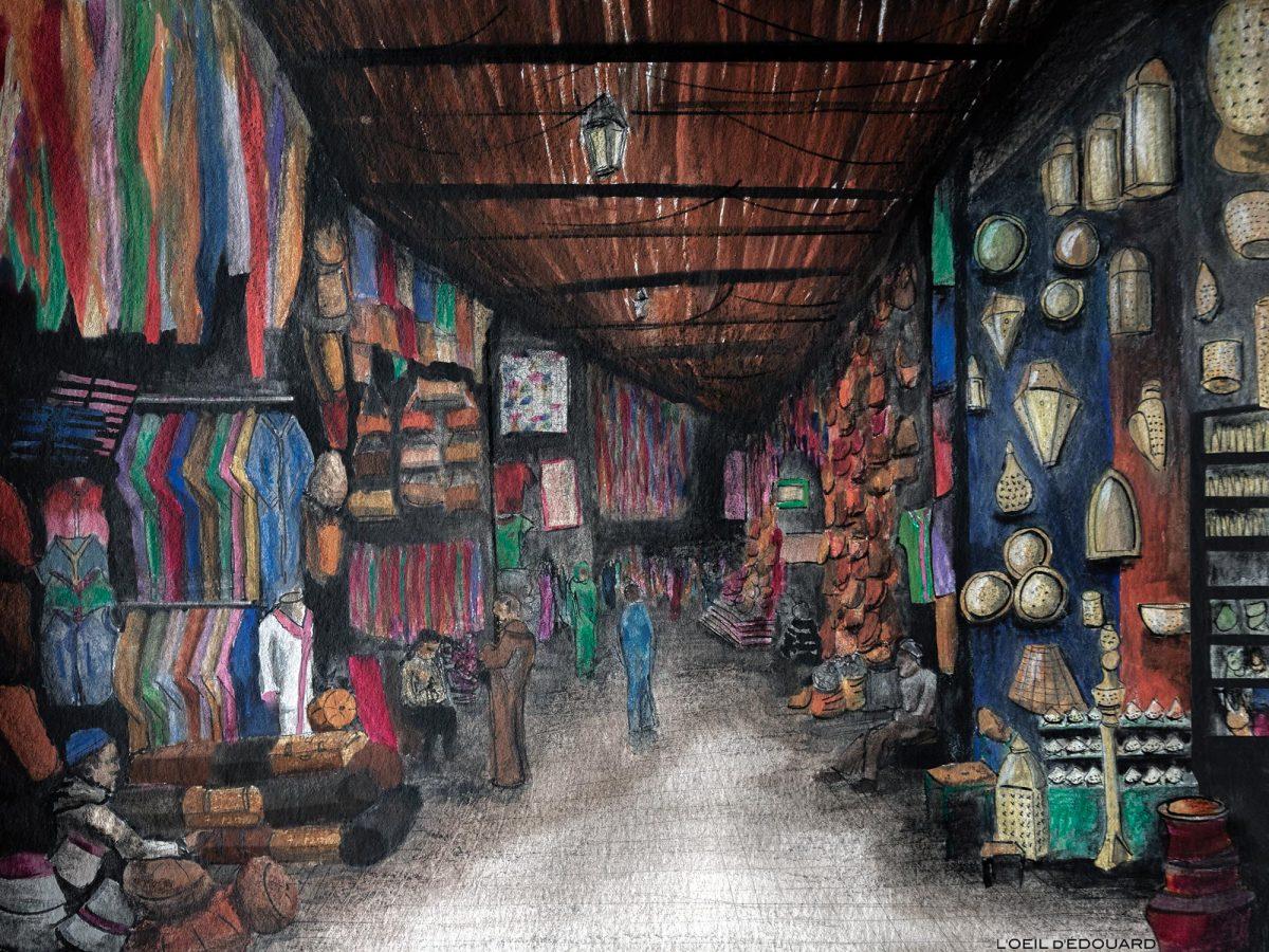 Les Souks de Marrakech dans la Médina, Maroc / Marrakesh, Morocco - dessin aquarelle © L'Oeil d'Édouard - Tous droits réservés