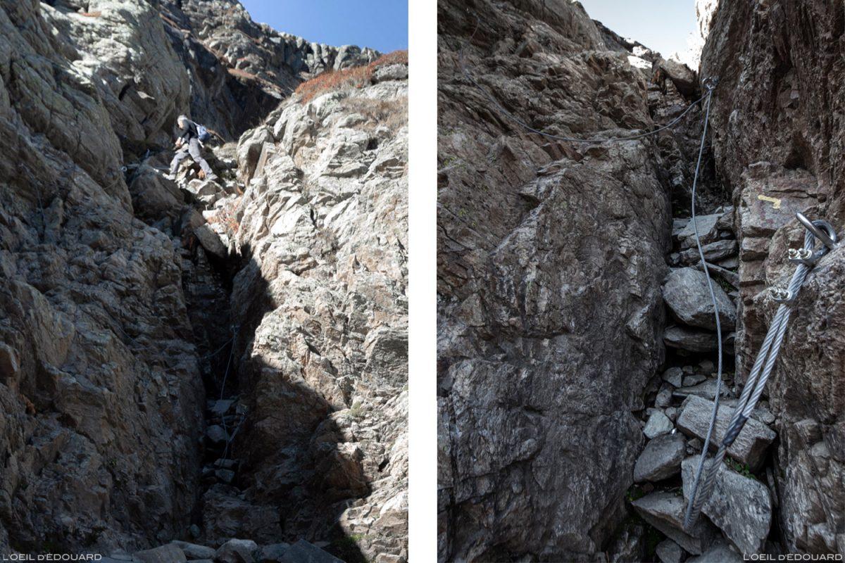 Passage câblé dans la Gorge de la Reculaz : randonnée Cirque des Évettes - Alpes Grées, Haute-Maurienne, Savoie Alpes
