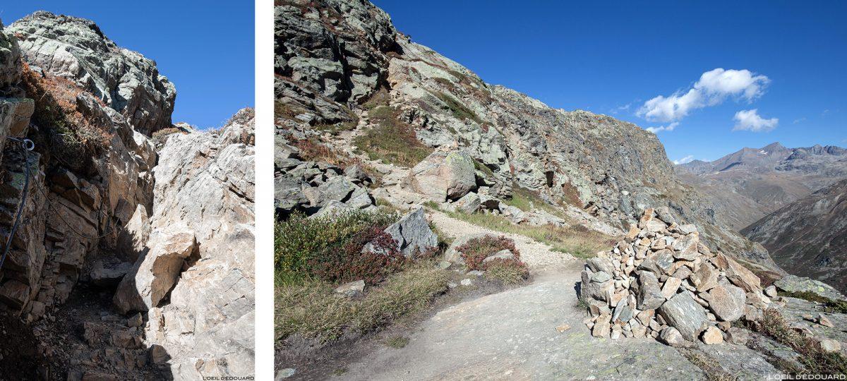 Passage cable dans la Gorge de la Reculaz : randonnée Cirque des Évettes - Alpes Grées, Haute-Maurienne, Savoie Alpes