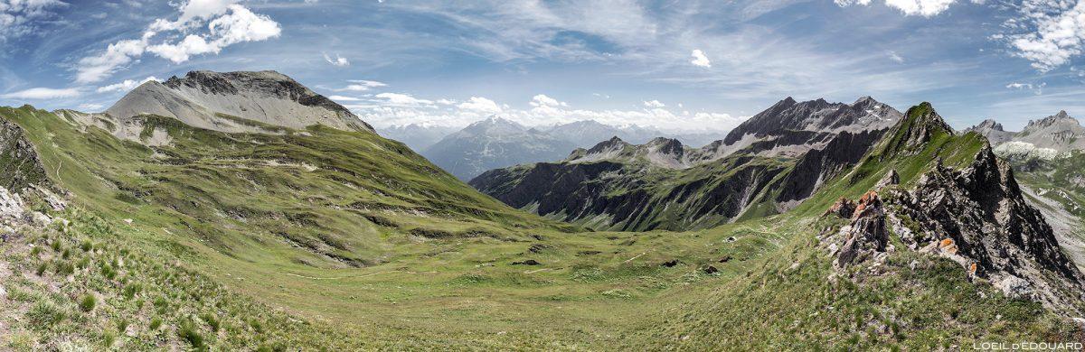 La Pointe de la Terrasse, le Vallon du Chardonnet, le Rognais depuis le Passeur de Pralognan, Le Beaufortain Savoie Paysage Montagne Alpes