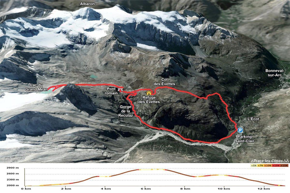 Itinéraire en boucle randonnée Cirque des Évettes - Alpes Grées, Haute-Maurienne, Savoie Alpes