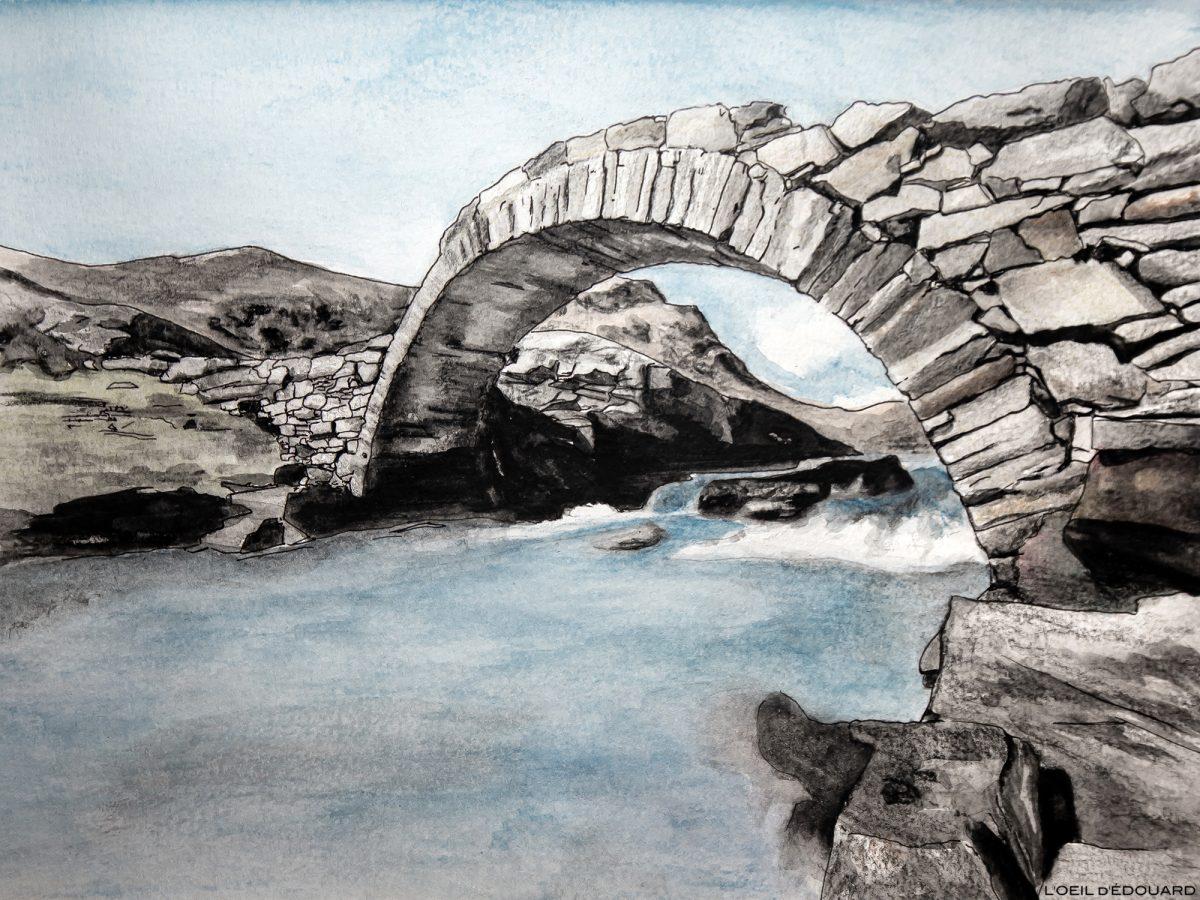 Dessin du Pont Romain, Cirque des Évettes, Haute-Maurienne Savoie © L'Oeil d'Édouard - Tous droits réservés