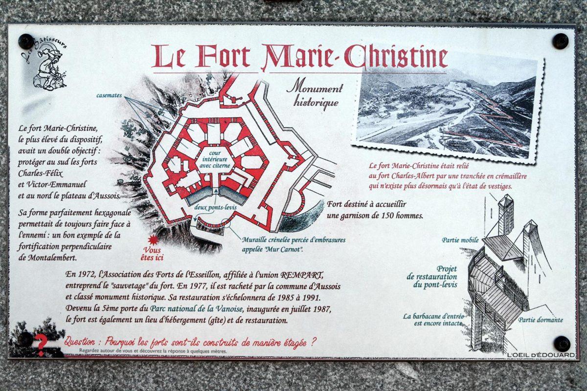 Plan du Fort Marie-Christine, Forts de l'Esseillon à Aussois, Haute Maurienne Savoie Alpes