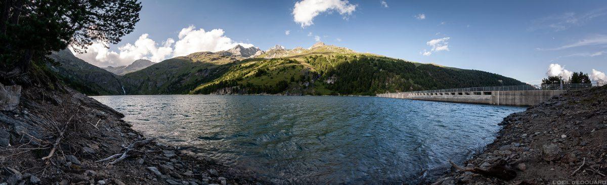 Lac de Barrage du Plan d'Amont, au-dessus d'Aussois, Haute Maurienne Savoie Alpes